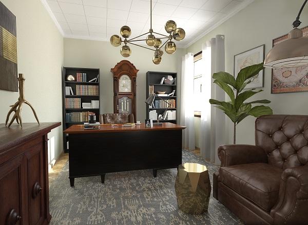 bibliotecas 3d glancing eye. Proyecto oficina