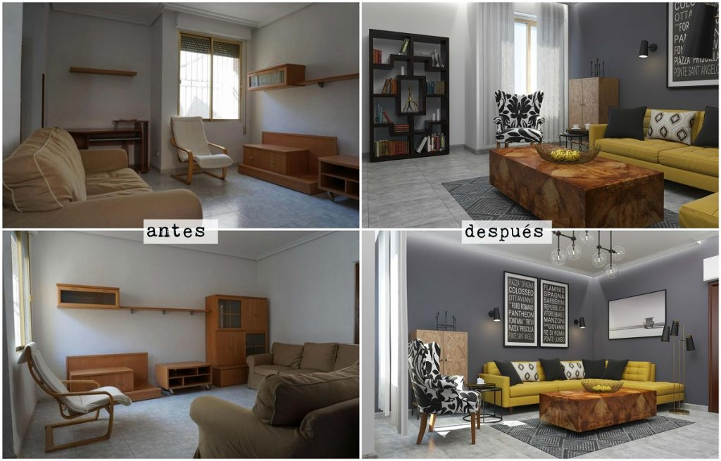 bibliotecas 3d glancing eye. Proyecto salon antes y después