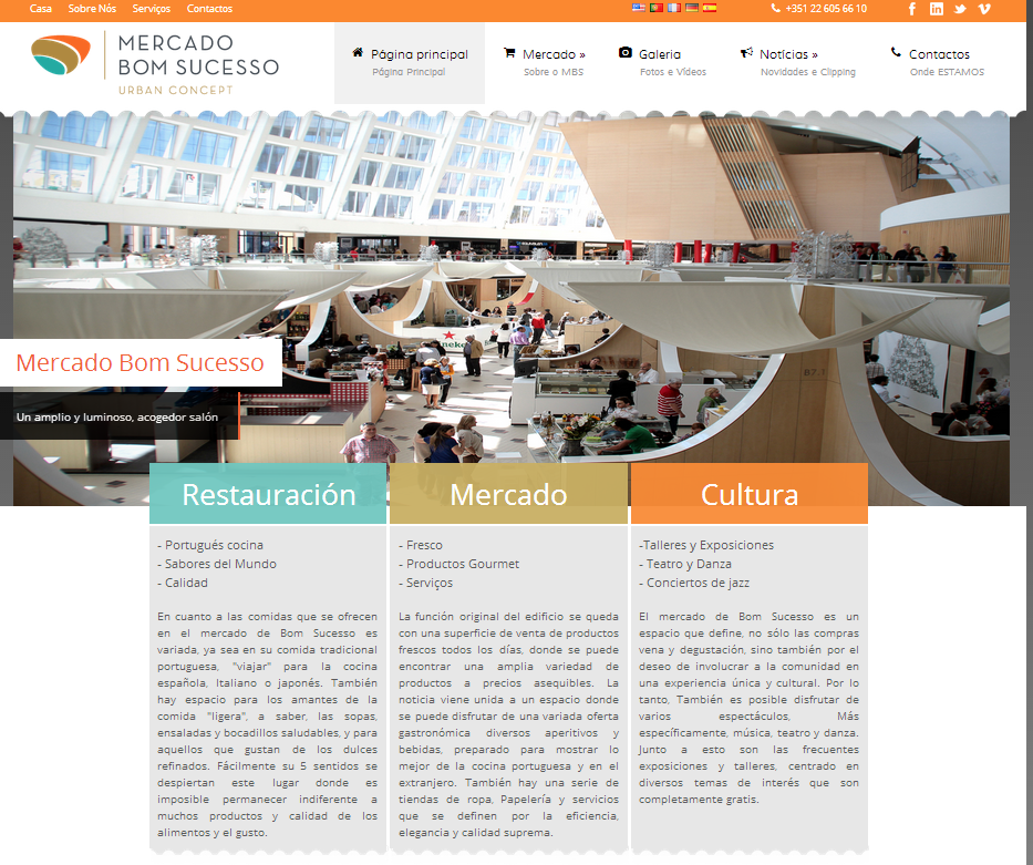 Página web Mercado Bom succeso. Oporto mercados de diseño