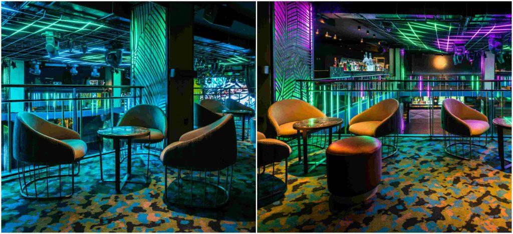 Sala Changó. chango club discoteca Madrid. Diseño Cuarto Interior. Iluminación led cambios de color