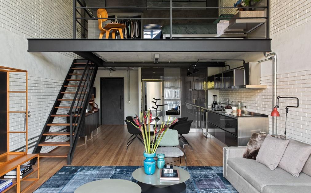 consejos como decorar un loft con estilo Industrial Loft II, en São Paulo (Brasil), de Diego Revollo