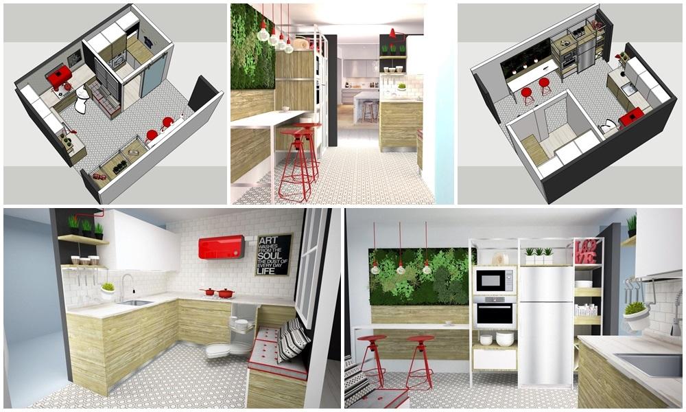 como reformar una cocina paso a paso. proyecto de Carol Sanchez interiorista renders . Decoración de cocinas.