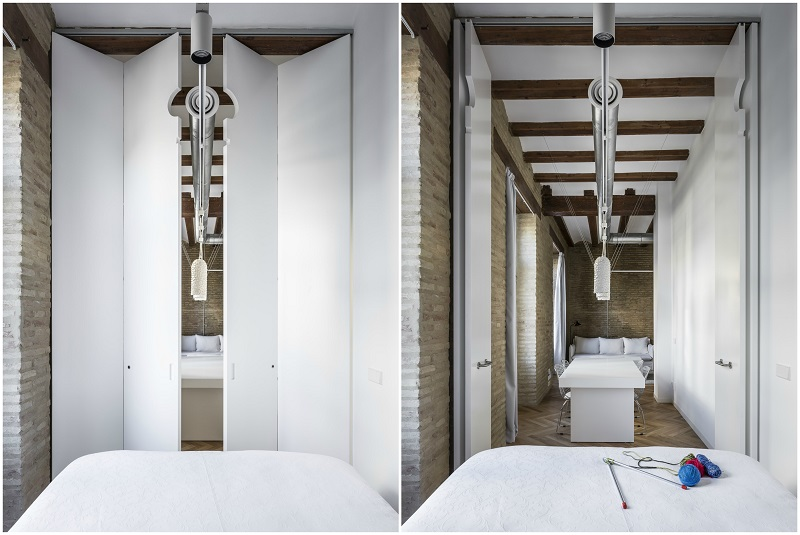 Selecta Home: Rehabilitación de vivienda en Valencia. Casa de alquiler. cuentos joaquin juberias y victor cano ciborro. puerta plegable desde el dormitorio