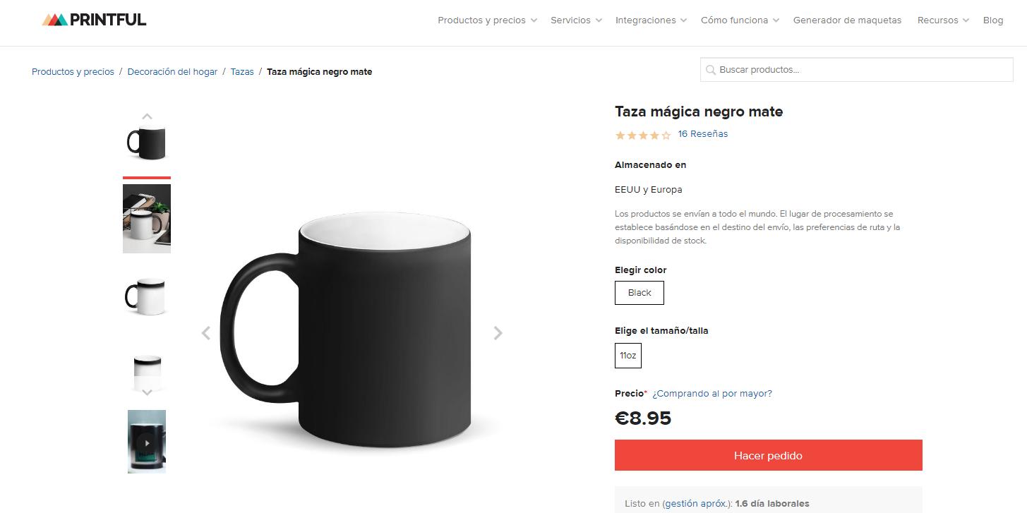 diseño tazas personalizables dropshipping con printful