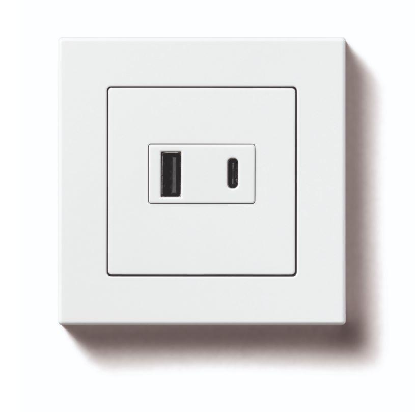 enchufes shuco con cargador USB JUNG blanco