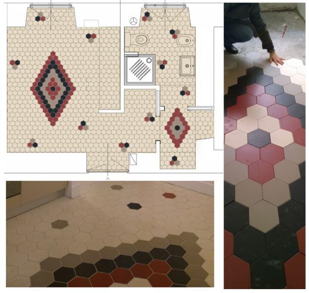 francesca bertuglia architetto Roma- replanteo azulejos. Reforma de apartamento en Roma