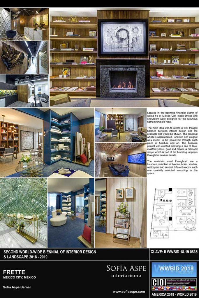 frette sofia aspe interiorismo Medalla de Oro Bienal Iberoamericana Cidi de interiorismo, diseño y paisajismo WWBID 2018 interior design and landscape