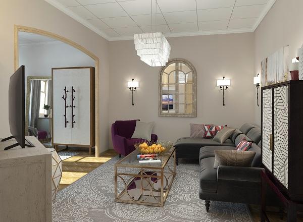 Glancing Eye. Diseño 3D y render para decoración de interiores. Imagén de salón Tv en 3d