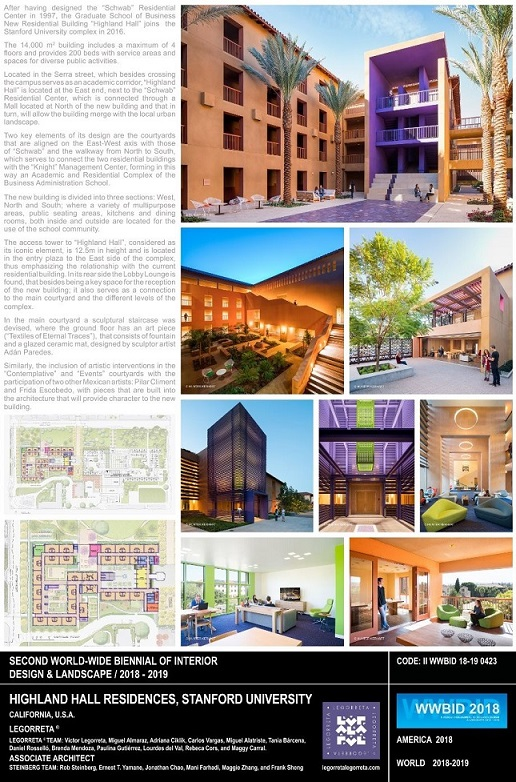 Highland Hall Residences Stanford University –Legorreta. Ganador Bienal Iberoamericana Cidi de interiorismo, diseño y paisajismo WWBID 2018 interior design and landscape