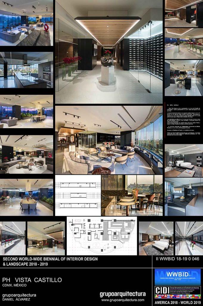 Grupo Arquitectura. Vista Castillo Medalla de Oro Bienal Iberoamericana Cidi de interiorismo, diseño y paisajismo WWBID 2018 interior design and landscape
