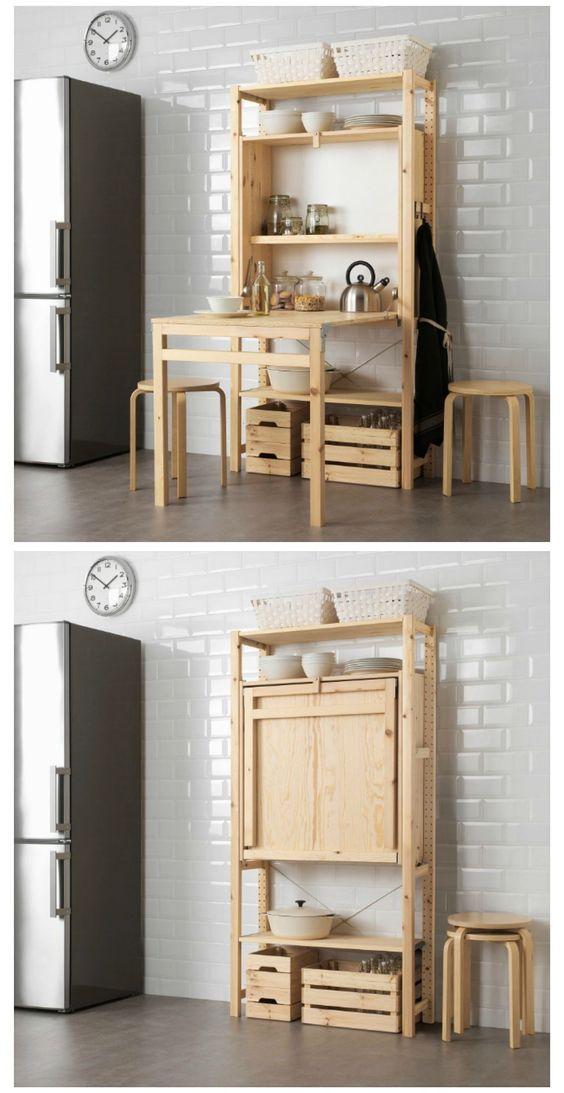 mueble fultifuncional con mesa abatible de IKEA- IVAR