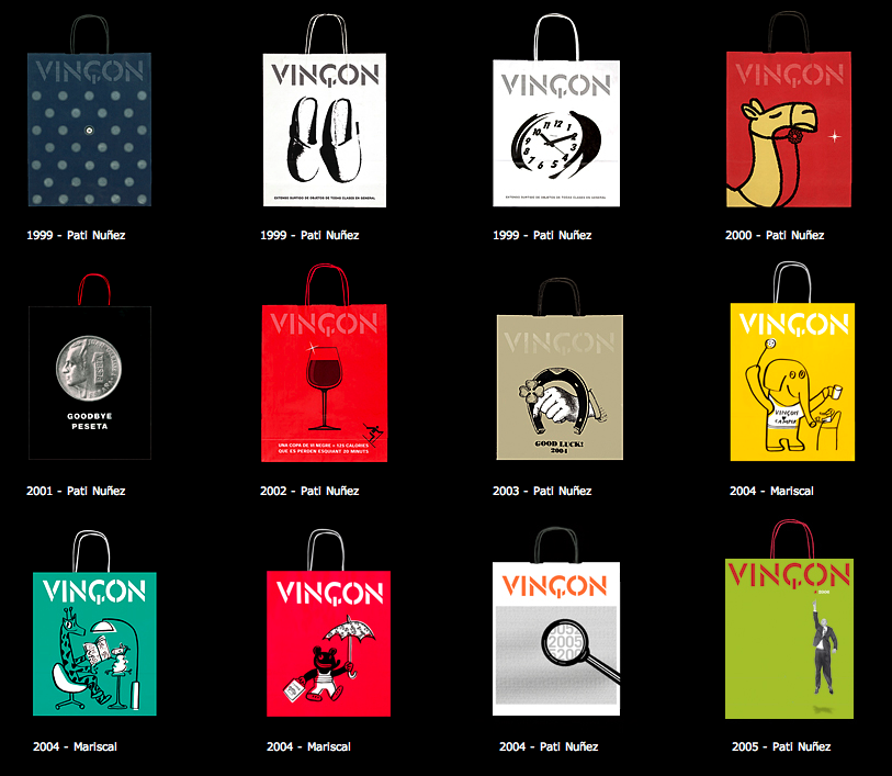 Algunos diseños de gráfica publicitaria de  Vincon Barcelona,  una tienda con historia.