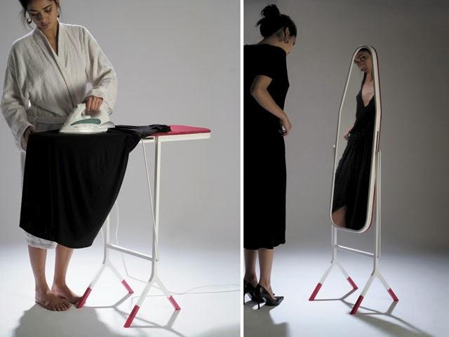 ironing-board-mirror-aissa-logerot- muebles multiusos. Tabla de planchar espejo