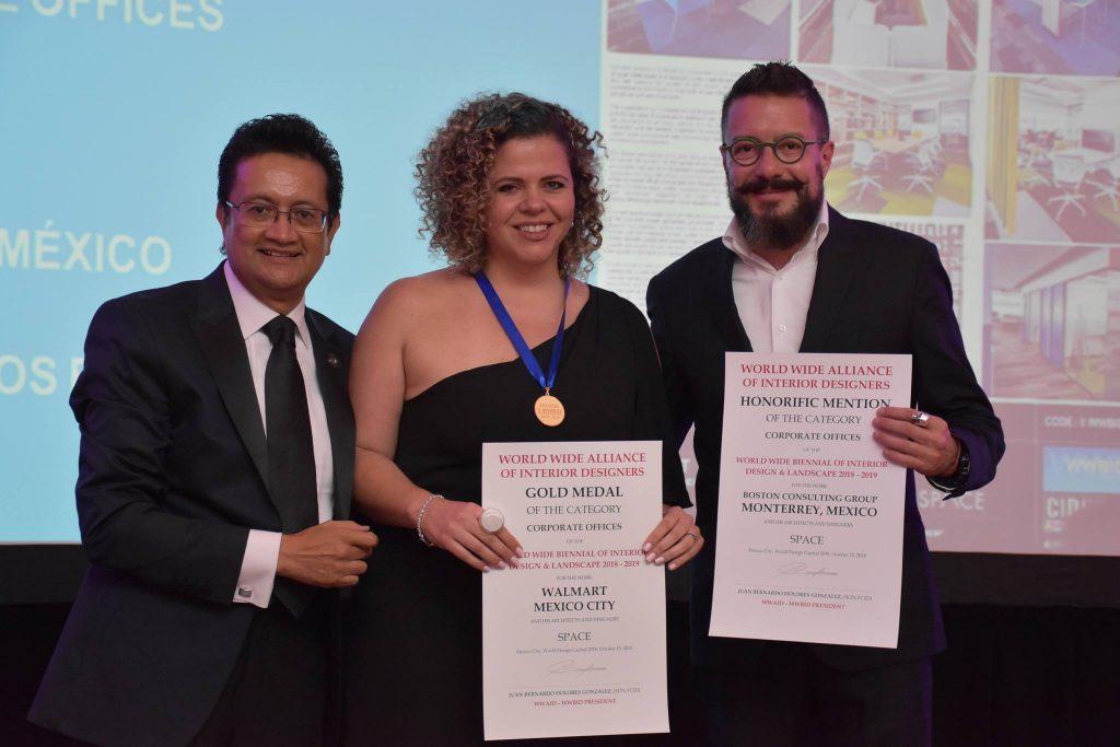 Gala de premiaciones Cidi 2018. México. Juan Carlos Baumgartner y Jimena Fdez Navarra. Space Arquitectura