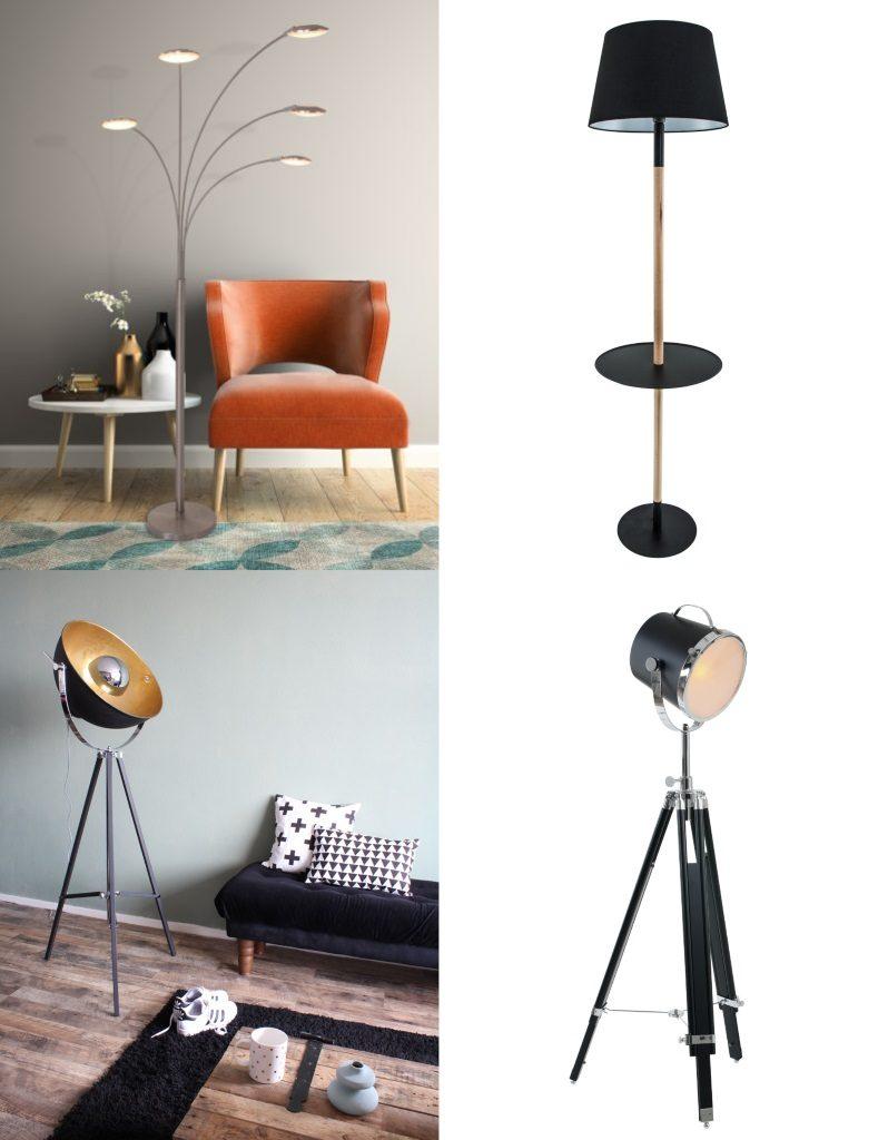 lamparasenlinea.es lamparas de pié de diseño retro vintage midcentury lamparas de pie negras b