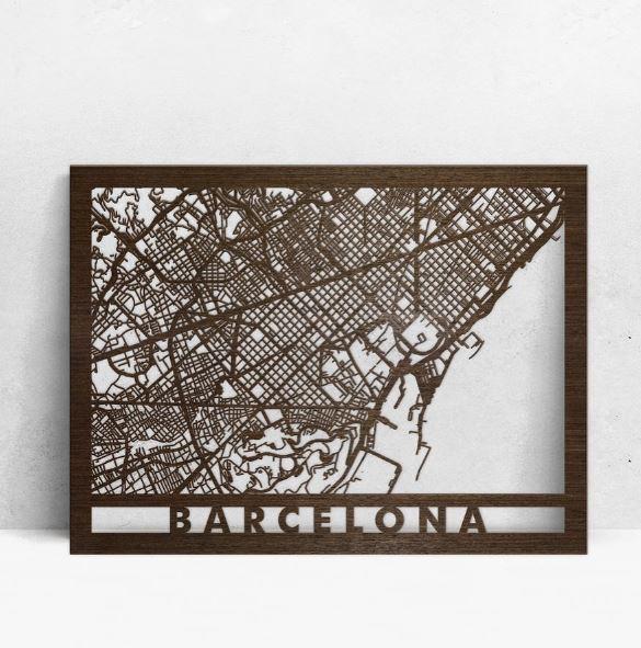 Mapas de madera en relieve 3d Barcelona mapas en laser