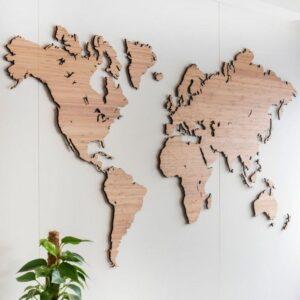 mapa mundi de madera