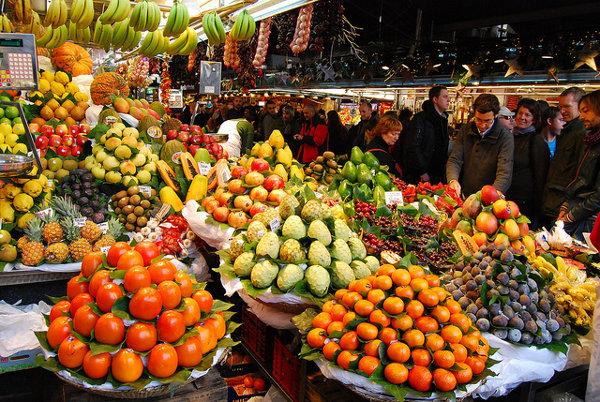 mercado-la-boqueria-barcelona. Tipos de tiendas. Mercado