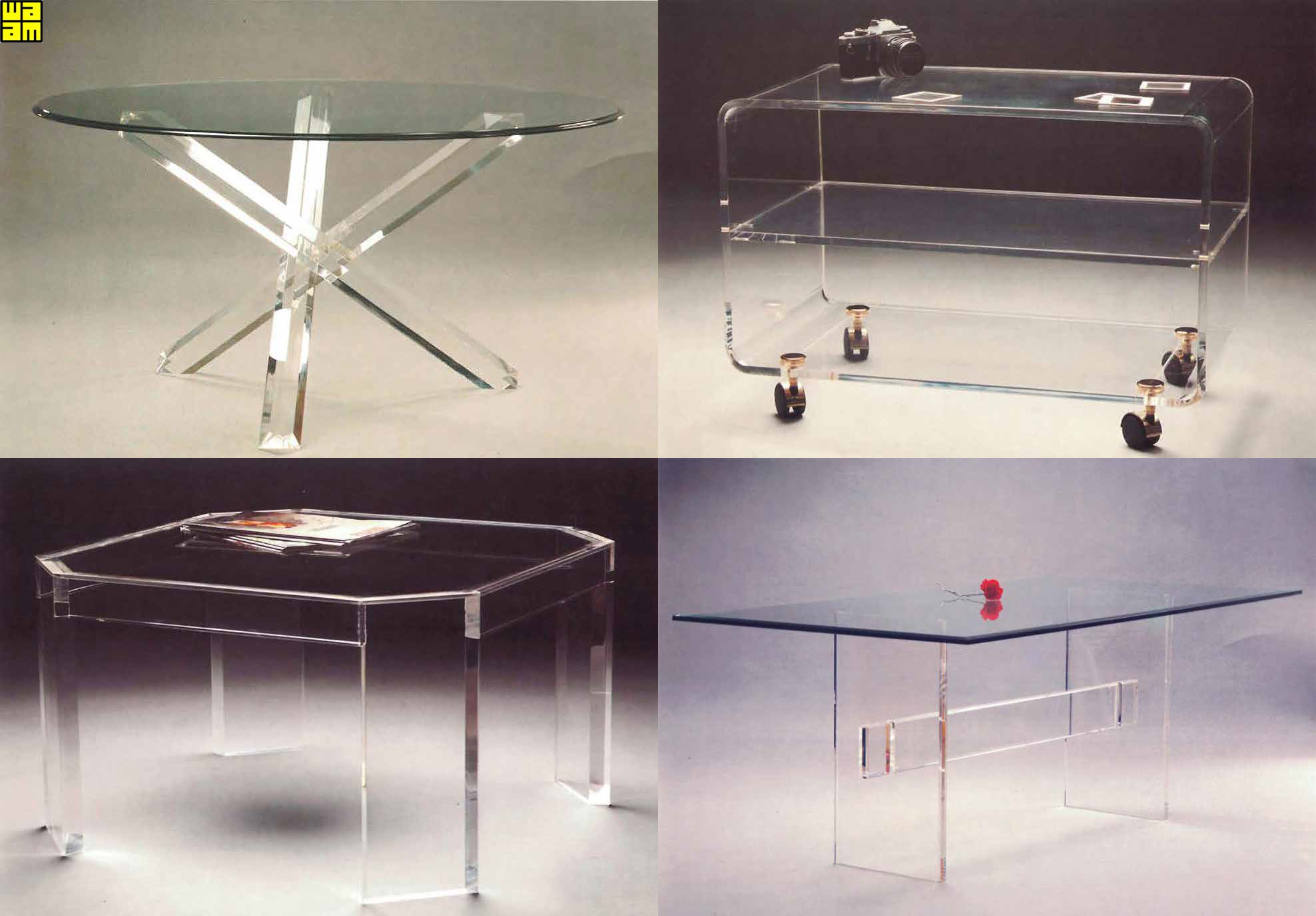 Muebles en metacrilato con estantes de cristal Catálogo propio _ Waam S.L.