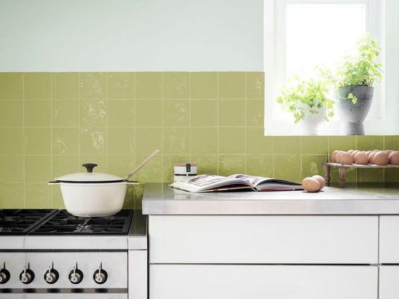 pintar azulejos de la cocina. Verde pistacho