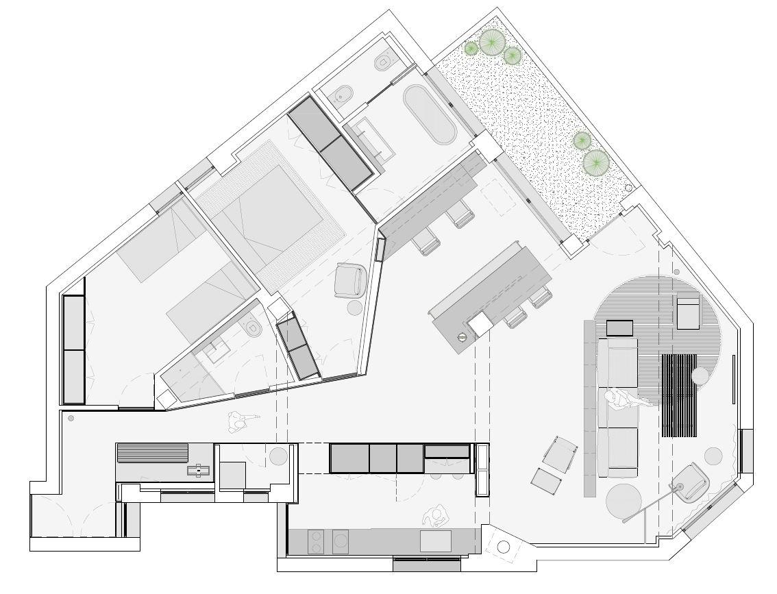 planta distribución reforma vivienda en Valencia Francesc Rifé. La Finca Roja