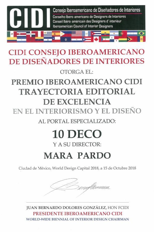 Premio Trayectoria Editorial 10Deco Bienal Iberoamericana Cidi de interiorismo, diseño y paisajismo WWBID 2018 interior design and landscape