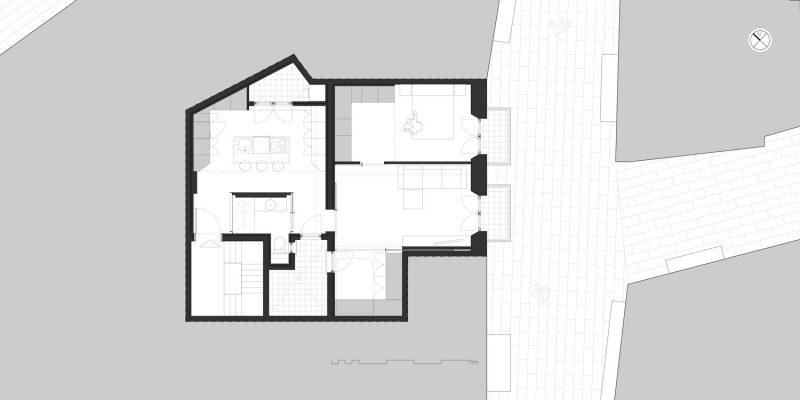 Rehabilitación en el Born de Barcelona de Setrabe Arquitectura. Plano de distribución