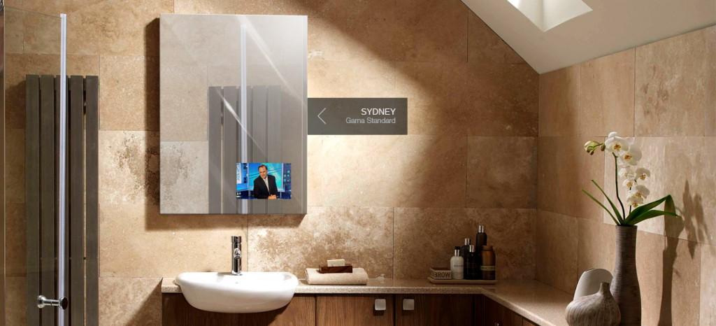 residencial-espacio-bano-sydney Miralay televisión espejo. Televisión integrada en espejo