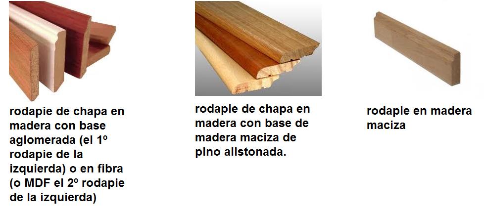 tipos de rodapie de maderas