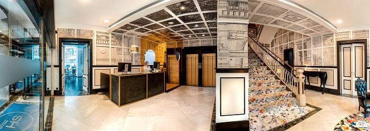 sh hotel inglés Valencia escalera y lobby