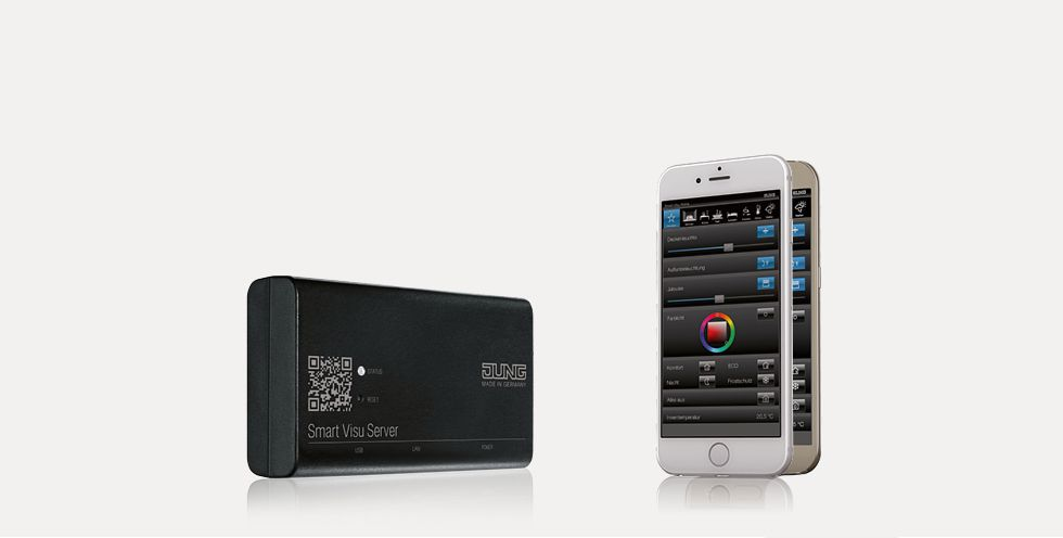 smart-visu-server Control movil Jung Smart Visu Server para smartphone, tablet o PC. Sistema KNX