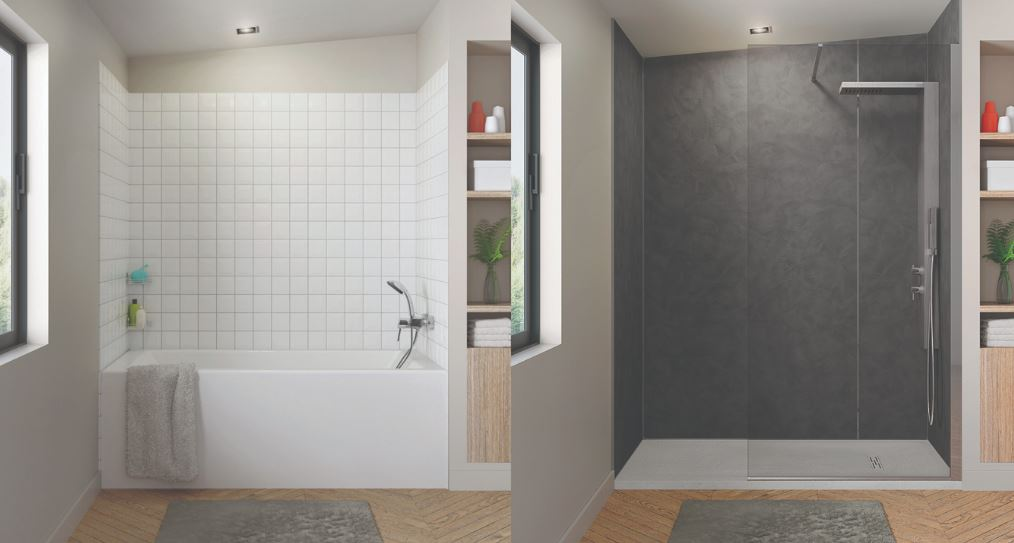 un baño sin obras paneles kinewall de grandform. Vista antes y después