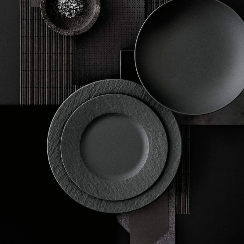 Mesa de Navidad original. villeroy boch platos negro gris.jpg 2